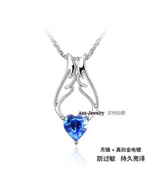 Medieval Blue Angel Wings Crystal Crystal Necklaces