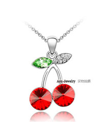 Eatable light Red Cherry Design Crystal Crystal Necklaces
