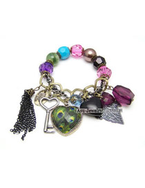 Victorian Multicolour Heart Lock Pendant Alloy Korean Fashion Bracelet
