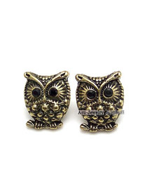Masonic Bronze Retro Owl Alloy Stud Earrings