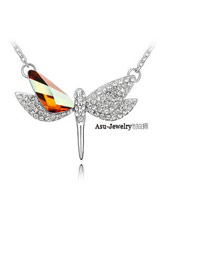 Affordable Crystal Copper Bronze Flying Dragonfly Crystal Crystal Necklaces