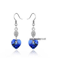 Slim Blue Earrings Alloy Crystal Earrings