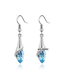 Spiritual sea blue Blue Earrings Alloy Crystal Earrings