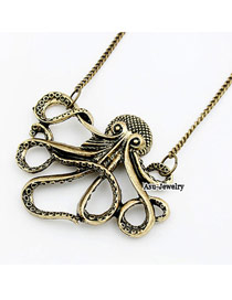 Punk Bronze Octopus Pendant Alloy Chains