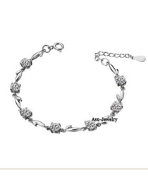 (Silvery)Korean personality vogue heart and arrow bracelet bangle-Floating Leaf Fall Plum