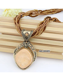 Personal Beige Sweet Quadrel Design Alloy Beaded Necklaces