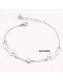 Contempora Silver Color A Couple Leopard Alloy Fashion Bracelets
