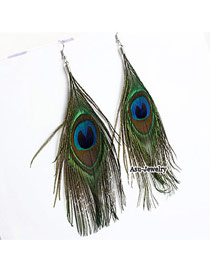 Shopping Green Peafowl Feather Delicate Design