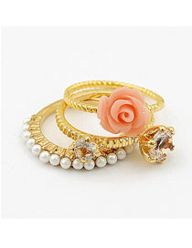 Victorian Gold Color Flower Three-Piece Unique Design Ring Alloy Korean Rings