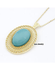 Lovely Blue Decorated With Bead Alloy Korean Necklaces