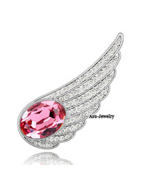 Micro rose red Red Brooch Alloy Crystal Brooches