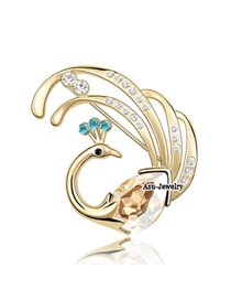 Floral Champagne gold Champagne Champagne Brooch Alloy Crystal Brooches