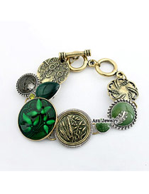 Travel Green Carve Leaf Design Alloy Korean Fashion Bracelet