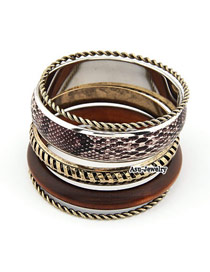 Bendable Brown Multilayer Alloy Fashion Bangles