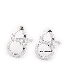 2013 Silver Color Snowman Shape Design Alloy Stud Earrings