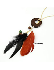 Indie red Orange Feather Key Charm Pendant