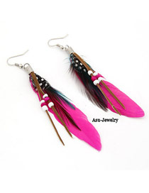 Oversized Plum Red Feather Decorated With Bead Charm Design