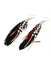Wool Black Decorated With Bead Alloy Korean Earrings