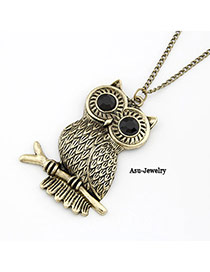 Dash Bronze Owl Standing On Branch Design Alloy Korean Necklaces