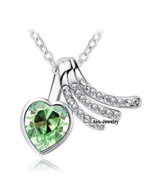 Shopping Olive Green Heart Pendant Charm Design Crystal Crystal Necklaces