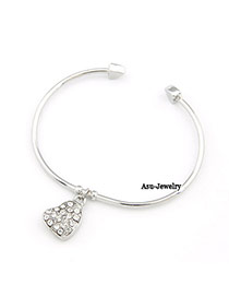 Fitness Silver Color Hear Pendant Bead Fashion Bangles