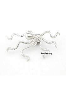 Single Silver Color Octopus Charm Design Alloy Stud Earrings