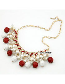 Down Red Imitate Pearl Weave Charm Design Pearl Bib Necklaces