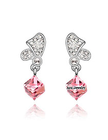 Marvelous Plum Red Earrings Alloy Crystal Earrings