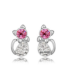 Affinity Plum Red Earrings Alloy Crystal Earrings