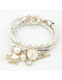 Liquid White Elephant Alloy Korean Fashion Bracelet