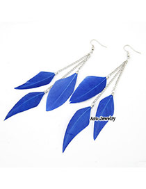 Gored Blue Simple Design Feather Korean Earrings