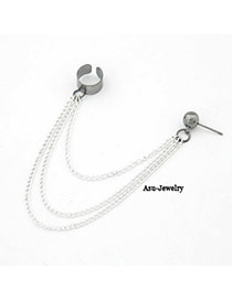 Micro Silver Color Tassles  Design Alloy Stud Earrings