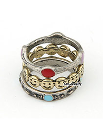 Expensive Antique Silver Smiling Face Alloy Korean Rings