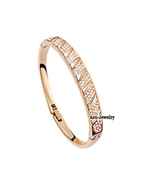 Asian Gold Color Bangle Alloy Crystal Bracelets
