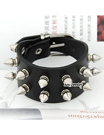 Autism Black Rivet Width Buckle PU Korean Fashion Bracelet