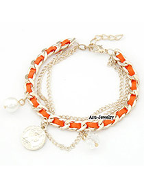 Best Orange Weave Conin Pendant Braided Rope Korean Fashion Bracelet