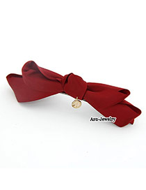 Lightest claret-red Bow Tie Charm Alloy Hair clip hair claw
