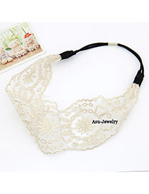 Korean elegant fashion hollow out lace flower width hair band hair accessories