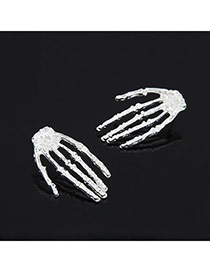 Funeral Silver Color Human Skeleton Hand Alloy Stud Earrings