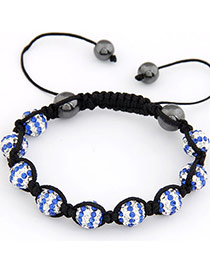 Plus Size Blue Personality Ball Design Braided Rope Fashion Bracelets