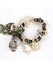 Urban Green Bow Elephant Design Lace Korean Fashion Bracelet