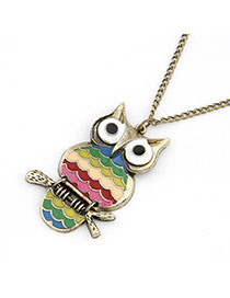 Pierced Multicolour Owl Pendant Alloy Korean Necklaces