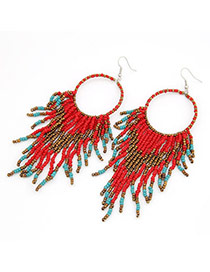 Mechanical Red Handmade Bead Tassels