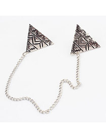 Turkish Antique Silver Triangle Alloy Korean Brooches