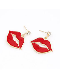 Ethnic Red Red Lip Charm Design Alloy Stud Earrings