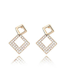 Funky White Earrings Alloy Crystal Earrings