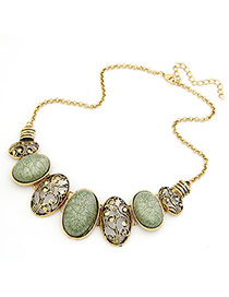 Masculine Blackish Green Hollow Out Oval Pendant Alloy Bib Necklaces