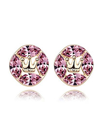 2012 Light Purple+Champagne Gold Purple Earrings Alloy Crystal Earrings