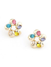 Claddagh Multicolour Flower Decorated With Color Cz Diamond Alloy Stud Earrings