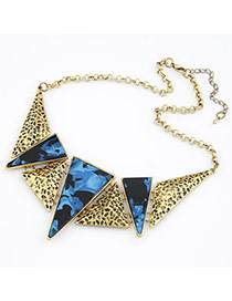 Preppy Sapphire Blue Triangle Alloy Bib Necklaces